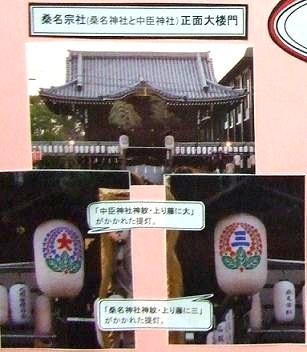 桑名宗社の提灯には、             神社の神紋が描かれています